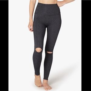 Beyond Yoga Slit Knee High Waist Grey Leggings